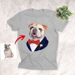 Pet Portrait In Vest Personalized Men T-shirt Gift For Dog Dads, Dog Papa On Father's Days, Anniversary Gift For Boyfriend