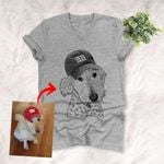 Personalized Pet Photo Portrait Sketch Hand Drawing Men & Women V-neck for Dog Lovers, Gift for Dog Lover