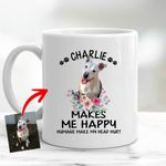 Personalized Pet Makes Me Happy Dog Lovers Mug Custom Gift For Dog Moms, Dog Dads, Birthday's GIift For Daughter, Dog Lovers, Pet Owners