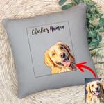 Customized Pet Portrait Illustration Happy Petties Pillow Case For Pet Lovers