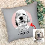 Personalized Pet Portrait Sketch Hand Drawing Men & Women Pillow Case for Dog Lovers, Gift for Dog Lover