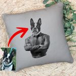 Pet Portrait In Human Costume Custom Pillow Case Special Gift For Pet Lovers, Dog Moms, Dog Dads, Gift For Boyfriend, Gift For Pet Owners