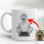 Pet Portrait In Human Costume Custom Mug Special Gift For Pet Lovers, Dog Moms, Dog Dads, Gift For Boyfriend, Gift For Pet Owners