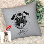 Personalized Pet Fur-Baby Pencil Sketch Pillow Case For Pet Owners, Dog Lovers