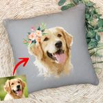 Personalized Dog Oil Painting Digital Women Pillow Case Dog with Flower Crown  for Dog Lover, Dog Mom, Gift for Dog Lover