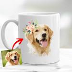 Personalized Dog Oil Painting Digital Women Mug 11oz Dog with Flower Crown  for Dog Lover, Dog Mom, Gift for Dog Lover