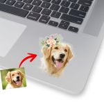 Personalized Dog Oil Painting Digital Women Stickers Dog with Flower Crown  for Dog Lover, Dog Mom, Gift for Dog Lover