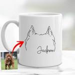 Personalized Dog Ears Outline Hand Drawing Women Mug 11oz for Dog Lover, Dog Mom, Gift for Dog Lover