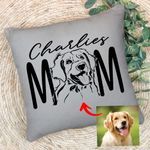 Dog Mom Pet Portrait Customized Pillow Case Pet Memorial Gift For Dog Moms, Dog Mama, Birthday Gift For Girlfriend
