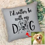 Personalized Pet Pencil Sketch Pillow - I'd Rather Be With My Dog Custom Pillow Case For Pet Owners