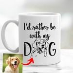 Personalized Pet Pencil Sketch Mug - I'd Rather Be With My Dog Custom Mug For Pet Owners