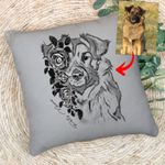 Pet Portrait With Flower Pencil Sketch Custom Pillow Case Gift For Dog Moms, Dog Dads, Daughter on Birthday