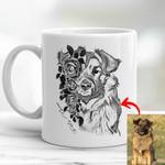Pet Portrait With Flower Pencil Sketch Custom Mug Gift For Dog Moms, Dog Dads, Daughter on Birthday