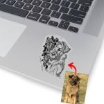 Pet Portrait With Flower Pencil Sketch Custom Sticker Gift For Dog Moms, Dog Dads, Daughter on Birthday