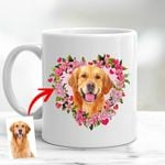 Customized Pet Illustration Flower Heart Mugs Gift For Pet Owners, Dog Lovers