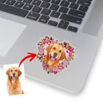 Customized Pet Flower Heart Illustration Sticker For Pet Owners, Dog Lovers