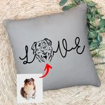 Customized Pet Portrait Pencil Sketch - Love Dog And Cat Pillow Case For Pet Lovers