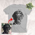 Personalized Pet Photo Portrait Sketch T-shirt Gift for Dog Lovers