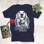 Customized Sketch Hand Drawing Backside Unisex T-shirt Personalized Gift For Dog Lovers, Dog Moms, Dog Dads