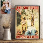 Personalized Dog With Parents Vintage Men & Women Poster And She lived Happily ever after for Dog Parents, Dog Mom