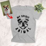 Personalized Pet Pencil Sketch T-shirt - My Spirit Animal Unisex Adult T-shirt For Pet Owners