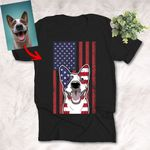 Personalized Dog Portrait on American Flag T-shirt for Dog Lovers 4th July Independence day