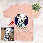 Pet Portrait Colorful Painting Custom T-shirt Gift For Dog Moms, Dog Dads, Daughter on Birthday, Anniversary Gift For Boyfriend, Girlfriend, Wife, Husband