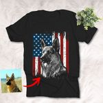 Personalized American Flag Dog Photo Independence Day 4th July T-shirt