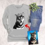 Personalized Pet Photo Portrait Sketch Hand Drawing Men & Women Long Sleeves for Dog Lovers, Gift for Dog Lover