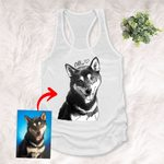 Personalized Pet Photo Portrait Sketch Hand Drawing Men & Women Tank Top for Dog Lovers, Gift for Dog Lover