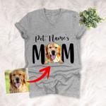 Furry Mom Custom Pet Portrait Unisex Vneck Shirt  Mother's Day Gift, Gift for Girls On Birthday