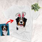 Easter Dog Custom Pet Portrait Colorful Painting Unisex T-shirt Easter Day Gift, Gift for Dog Lovers