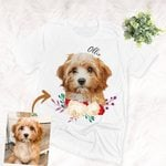 Personalized Water Color Pet Portrait T-shirt Adults Special Gift For Dog Lovers, Pet Owners
