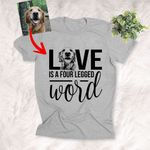Love is Four Legged Word Custom Sketch Pet Portrait T-shirt Gift For Dog Lovers, Dog Owner, Pet Parents
