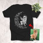I Love You To The Moon And Back Custom Hand Drawn Pet Portrait T-shirt Gift For Dog Lovers, Dog Owner, Pet Parents