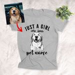 Just A Girl Who Loves Pet Custom Hand Drawn Pet Portrait T-shirt Gift For Dog Lovers, Dog Owner, Pet Parents