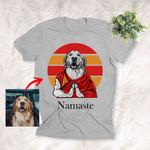 Namaste Dog Custom Hand Drawn Pet Portrait T-shirt Gift For Dog Lovers, Dog Owner, Pet Parents