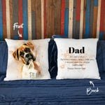 Happy Father Day Water Color Portrait Dog Photo Pillow Case Gift For Fur Dad, Dog Lover