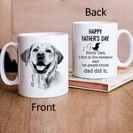 Funny Happy Father Day Hand Drawn Pet Portrait Personalized Mug Gift For Fur Dad, Dog Lover
