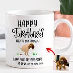 Happy Father's Day To My Human Customized Hand Drawn Dog Photo Mug