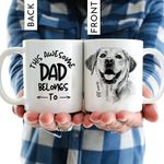 This Awesome Dad Belong To Hand Drawn Pet Portrait Personalized Mug Gift For Fur Dad, Dog Lover