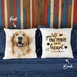 You Left Pawprints On My Heart Custom Water Color Dog Photo Pillow Case Gift For Dog Lover