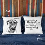 Dear Daddy, Thank You For Picking Up My Poop Hand Drawn Portrait Dog Photo Pillow Case Gift For Fur Dad, Dog Lover