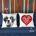 Love Is Four-Legged World Hand Drawn Portrait Dog Photo Pillow Case Gift For Fur Dad, Fur Mom Dog Lover