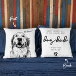 Happy Father's Day To The World's Best Dog Dad Hand Drawn Portrait Dog Photo Pillow Case