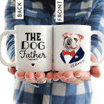 The Dog Father Colorful Painting Pet Portrait In Vest Personalized Mug Gift For Fur Dad, Dog Lover