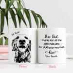 Dear Dad Thanks For All The Belly Rubs Custom Dog Photo Portrait Mug
