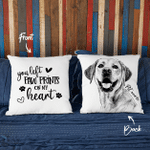 You Left Pawprints On My Heart Hand Drawn Portrait Dog Photo Pillow Case