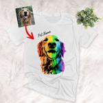 Personalized Rainbow Dog Photo Portrait Custom T-shirt For Human