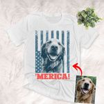 Independence day 4th July Customized Dog Photo Portrait T-shirt For Human